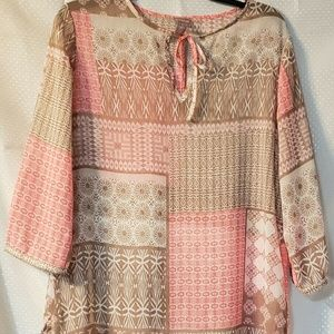 CHICO'S PATCHWORK PRINT POPOVER BLOUSE  SIZE 1 MED